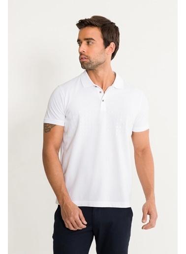 Avva Erkek  Polo Yakalı Baskılı Tişört A01S1274 Beyaz